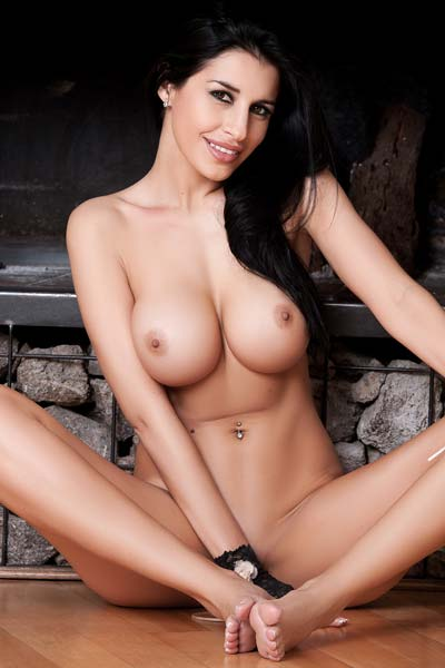 Laura Cattay Naked babe in front of fire place