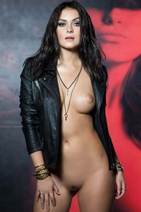 Alexandra Tyler In nuthing by leather jacket