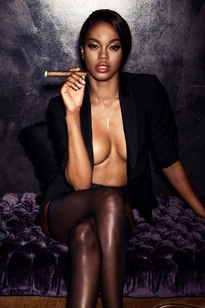 Chocolate curvy babe Eugena Washington strips and enjoys her favorite cigar