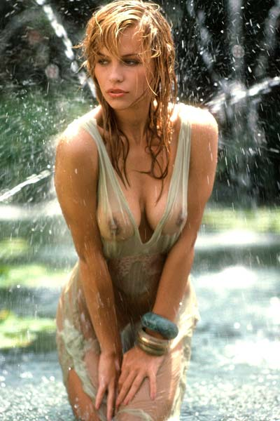 Breathtaking young Pamela getting wet
