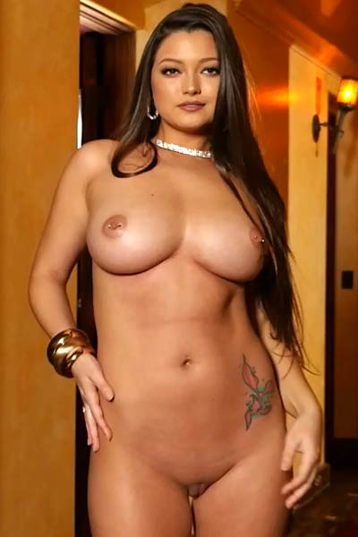 Fantastic brunette Chelsie Aryn takes off her sexy lingerie and bares her massive tits
