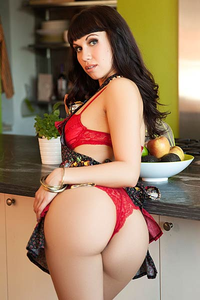 She looks so amazing while wearing her sexy scarlet lingerie