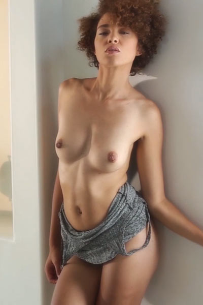 Sexy Ebony newcomer Sheila J gladly displays her all natural naked body