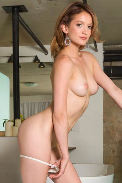 Sultry blonde Angel exposes her perfect round tits and amazing peachy ass