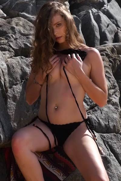 Astonishing brunette Lauren Lee having fun on the beach in nude