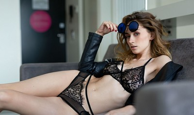 Yana West in Shades of Lace from Playboy