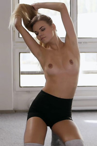 Top class blonde has a tight ass and small tits and she is showing it in this solo staff of goddess
