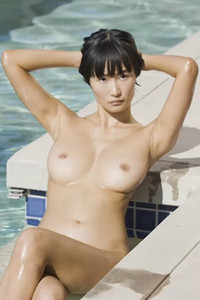 Miki Hamano enjoys her naked swimming in the private pool